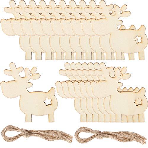 20 Piezas de Adornos de Madera de Reno de Ciervo de Navidad Decoración Colgante