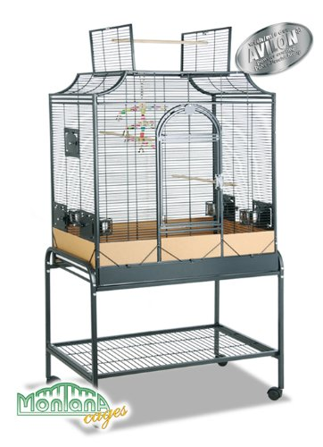 Montana Cages - Sittichkäfig, Käfig, Voliere, Vogelkäfig Madeira III - Antik mit Anflugklappe, 96x 58x 167cm