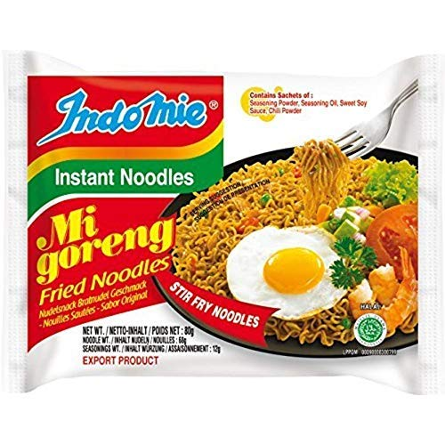 Indomie Mi Goreng Instant Stir Fry Noodles, Halal Certified, Original Flavor (Pack of 30)