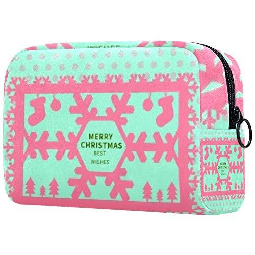 Personalisierbare Make-up-Pinsel-Tasche, tragbare Kulturtasche für Frauen, Handtasche, Kosmetik, Reise-Organizer, Merry Christmas Best Wishes