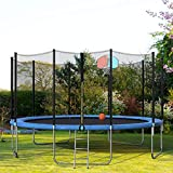 DERCASS Jump Power 14ft 15ft Round Trampoline with Safety Enclosure...