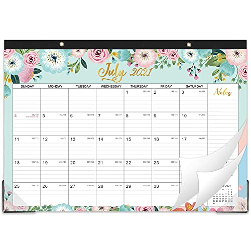 """2021-2022 Desk Calendar - 18 Monthly Desk/Wall Calendar 2-in-1,16.8"""" x 12"""", July 2021 - December 2022, Thick Paper with Corner Protectors, Large Ruled Blocks - Floral"""