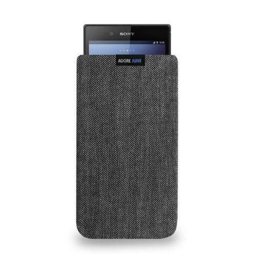 Adore June Business Tasche passend für Sony Xperia Z Ultra Handytasche aus charakteristischem Fischgrat Stoff - Grau/Schwarz | Schutztasche Zubehör mit Bildschirm Reinigungs-Effekt | Made in Europe