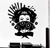 Hermosa Geisha Maquillaje Mujer Flores Asiático Oriental Fan Chica Salón de belleza Vinilo Etiqueta de la pared Calcomanía del coche Dormitorio Sala de estar Estudio Decoración para el hogar