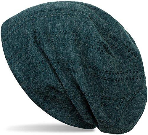 styleBREAKER Beanie Mütze mit Lochstrick Muster, Vintage Slouch Longbeanie, Unisex 04024095, Farbe:Petrol meliert