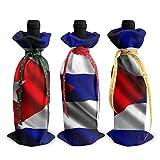 Cuba drapeau 3 pièces couverture de bouteille de vin décoration sacs de couverture pour Noël, mariage, vacances