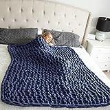 HEARTH & STONE Navy Blue Chunky Knit Blanket Throw, Chunky Blanket (50x60) - Soft Chenille Crochet Blanket, Cable Knit Throw Blanket, Chunky Throw Blanket - Chunky Yarn Blanket, Braided Blanket
