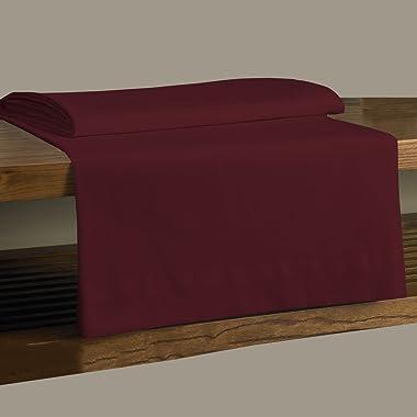 MISR Linen Super-King 400Tc Super Soft Flat Sheet 1Pcs + 2Pcs Pillow Case 100% Egyptian Cotton,Burgundy Solid