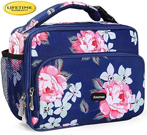 Amersun Kids Lunch Bag, Durable Insulated School Lunch Bag with Padded Liner Keeps Food Warm Cold Longer Time,Small Thermal Travel Office Lunch Cooler for Teen Girls-2 Pocket,Peony blue