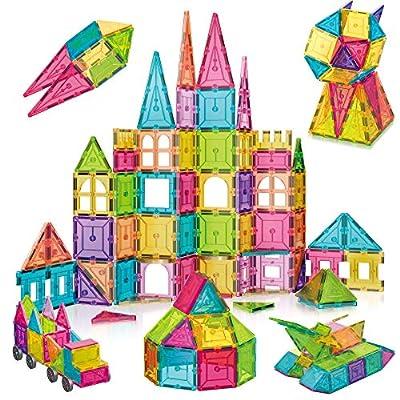 Sinceroduct Magnetic Tiles Building Blocks 124pcs Set for Kids, 3D Educational Building Toys for Boys Girls, Develop Tactile Skills, Creativity, Sense of Color, Math
