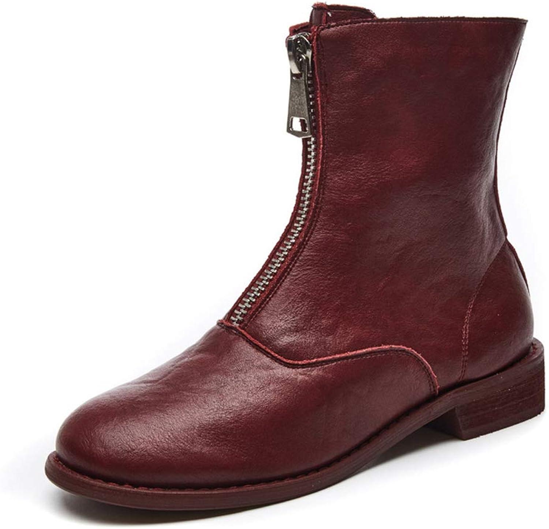 SANOMY SANOMY SANOMY PU läder Ankle stövlar Front Zipper Round Toe Flat Low Heel Booslipss Mode Casual Chelsea stövlar  snabba svar