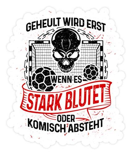 shirt-o-magic Aufkleber Handball: Handballer heulen nicht - Sticker - 10x10cm - Weiß