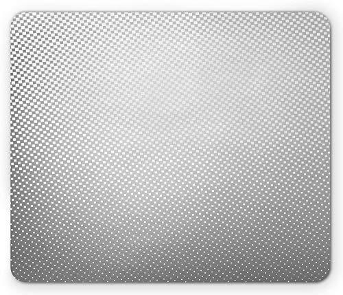 Alfombrilla de ratón Digital para computadora, diseño de Puntos de semitono en Escala de Grises Pastel, Alfombrilla Rectangular de Goma Antideslizante Grande, Gris y Gris pálido-Gris gr,20x25cm