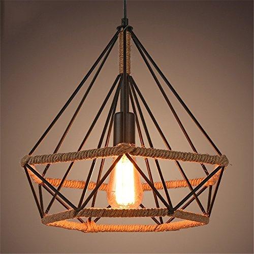 Leduni Lámpara de Techo Vintage Industrial cuerda de cáñamo Loft luz E27