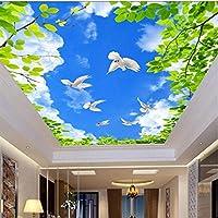 HDブルースカイグリーンリーフホワイトピジョン3D天井壁画リビングルームテーマホテル居心地の良いインテリア家の装飾天井写真壁紙-200X140CM
