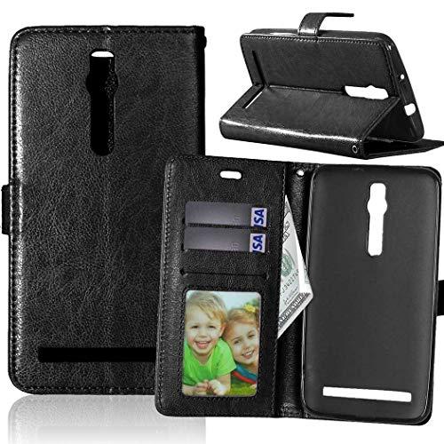 Wenlon Handy PU Hülle für Asus ZenFone 2 ZE550ML Deluxe ZE551ML 5.5inch, Hochwertige Business Kunstleder Flip Wallet Handyhülle mit Card Slot Funktion, Bracket Funktion - Schwarz