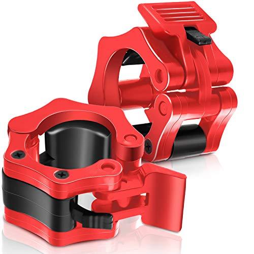 2 Stücke 2 Zoll Langhantel Klemm Kragen Gewichtheben Langhantel Kragen Schnellverschluss Klemm Kragen Standard Stangen Gewicht Kragenclips für Training Fitness Bodybuilding (Rot)