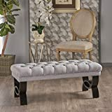 Christopher Knight Home Scarlett Fabric Ottoman Bench, Light Grey