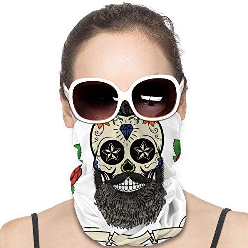 Esqueleto tatuaje a prueba de viento escudo de rostro multiuso para la cabeza, pasamontañas y cuello polaina