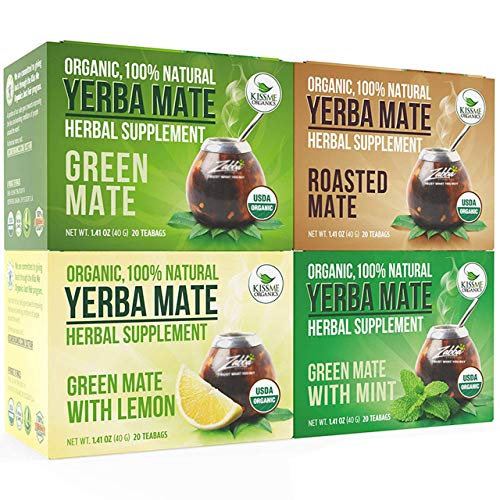 Organic Yerba Mate Tea Bags - Variety Pack - Mate Cocido - Natural Detoxifier - 80 Tea Bags - 20 of Each Flavor (2 grams each) Kiss Me Organics