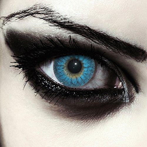Blaue farbige Werwolf Kontaktlinsen ohne Stärke für Halloween Farblinsen in blau Model: Blue Werewolf + gratis Kontaktlinsenbehälter