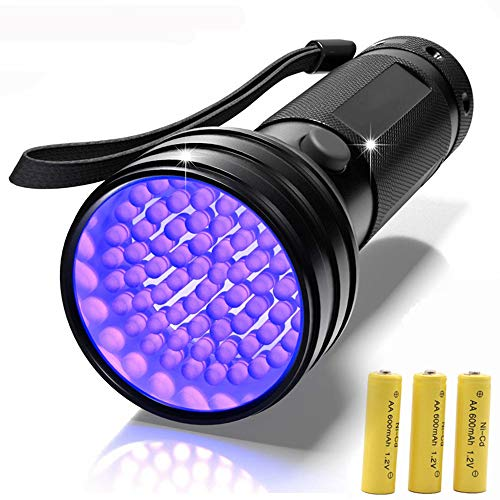 Linterna UV,51 LED Lámpara Ultravioleta 395nm Blacklight para orina de perro / gato, manchas secas, chinches, camas