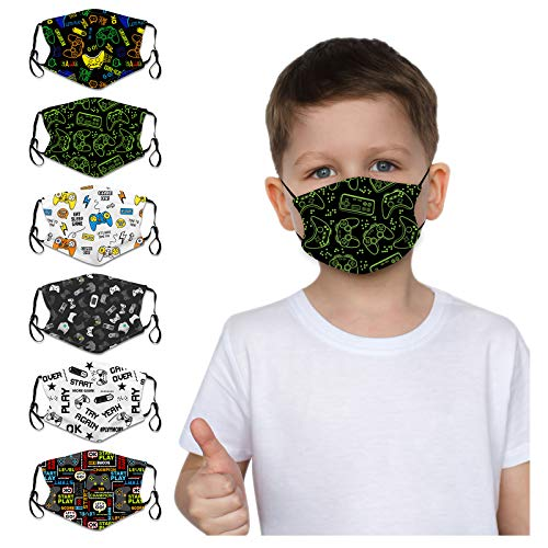 Kids Reusable Face Bandanas Cute Cartoon Breathable Cloth Face Covering with Adjustable Ear Loops (6 PACK (game theme))