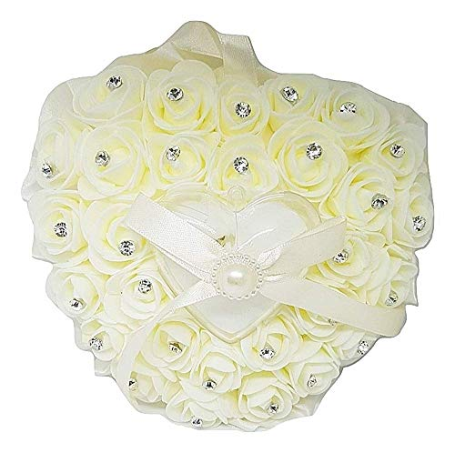 Kussen - trouwringhouder - ivoor - lichtpunten 16 x 17 x 7 cm - pasgetrouwden - kussen - trouwringen - bruiloft - rozen - man - vrouw - cadeau-idee - verjaardag - kerstmis strass