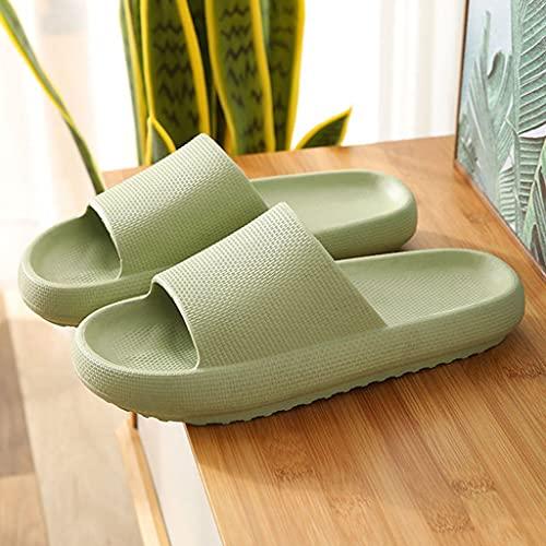 ZMYDZ Sandalias de Ducha Unisex Zapatillas Antideslizantes Sandalias de Suelo y Exteriores Zapatos de Baño de Espuma Suave Plataforma Baño Ducha Zapatillas(Size:EUR 38-39,Color:Verde)