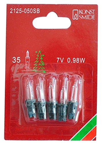 Konstsmide 2125-050SB Ersatzbirne / für Minilichterketten /  7V, 0,98W / 5er Blister / grüne Steckfassung