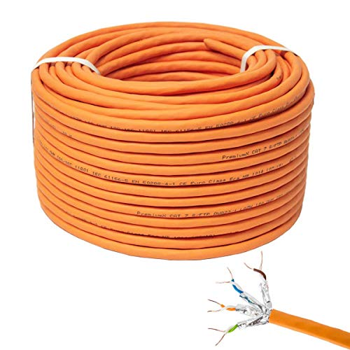 PremiumX 100m CAT 7 Netzwerkkabel Simplex LAN-Kabel Ethernet Datenkabel S/FTP PiMF PoE Eca Cat7 Verlegekabel Installationskabel Cat.7 0,54 EUR/m