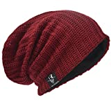 Hommes Bonnets Slouch Beanie Crâne Tricoter Grand Ski Hiver Chapeaux B08, 019-Bordeaux,...