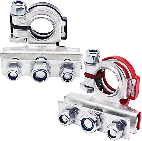 TKDMR Battery Terminal Connectors - Pair of 3 Way Brass Quick Release Disconnect Car Battery Cable Terminal Clamps Connectors (3, Silver)