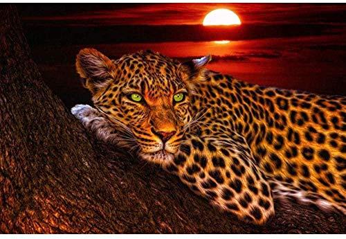 Pintura de diamante 5D leopardo 40x50 CM diamante redondo DIY bordado de diamantes hecho a mano decoración de sala de estar pintura