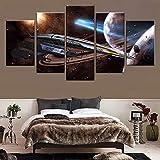 Dsromhgqi 5 stampe su tela 50x25cm Universo astronave fantascienza tecnologia Soggiorno casa camera dei bambini decorazione d'interni arte immagine della parete poster su tela 5 pannelli telaio