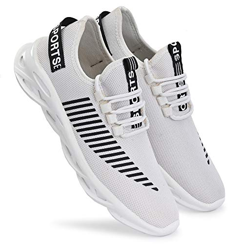 Neso Men's Non Slip Gym Sneakers Fashion Shoe Lightweight Breathable Athletic Running Walking Tennis Shoes White