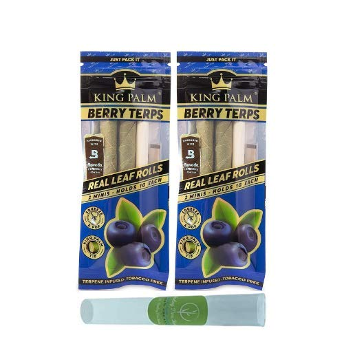 King Palm – ASHTRAY +Mini Size – Squeeze & Pop Pre Rolls – Berry Terps Flavoured – Natural Pre Wrap Palm Leafs – Organic…