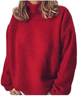 Howely Womens Plus Size Fall Winter Knit Turtleneck Pullover Top Blouse