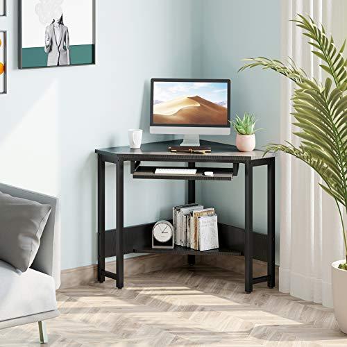 ODK Corner Desk, Triangle Computer Desk, Sturdy Steel Frame for Workstation with Smooth Keyboard Tray & Storage Shelves, Black