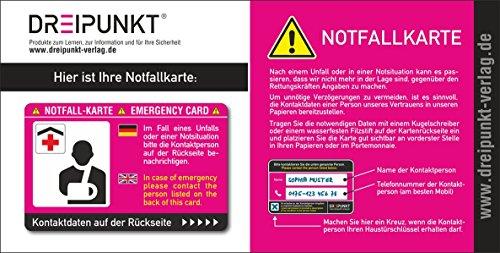 Notfallkarte: PVC-Karte im Scheckkartenformat für die Brieftasche