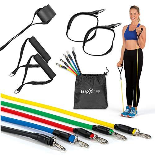 MAXXMEE Trainings-Set Fitness-Bänder - 11-TLG. Set | Ideal für das Training zuhause oder unterwegs | Zahlreiches Zubehör für Dein optimales Training | Individuelle Belastungslevel [Mehrfarbig]