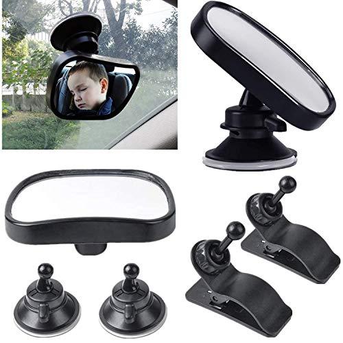 STARPIA 2PCS Specchietto Retrovisore per Bambini + Ventosa e Clip, 360° Specchio Auto Bambino in Acrilico Anti-Rottura, Specchio Interno di Sicurezza per Bambini Regolabile
