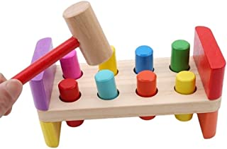 HTJSDC 1 Set of colorful wooden toys for babies with hammer preschool children box multifunctional maintenance combination...