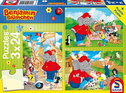Schmidt Spiele- Puzzle Infantil (3 x 24 Piezas), diseño de Flores de Benjamin (56400)