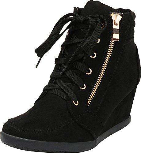 Cambridge Select Women's Zipper Lace Up Wedge Heel Fashion Sneaker (8 B(M) US, Black)