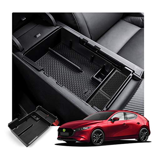 N/A Auto Bracciolo Centrale Scatola Immagazzinaggio Contenitore, per Mazda 3 4th 2019 2020 Central Armrest Console Storage Box, Car Organizzatore Contenitore Accessori Interni