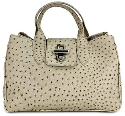 Belli Echt Leder Handtasche Damen Ledertasche Umhängetasche Henkeltasche in taupe Strauß Prägung - 36x25x18 cm (B x H x T)