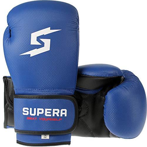 Supera Boxhandschuhe 10oz – Boxing Gloves aus hochwertigem Kunstleder für Lange Haltbarkeit – Stabile Kickboxhandschuhe mit stabilen Polstern - Boxen Kickboxen MMA