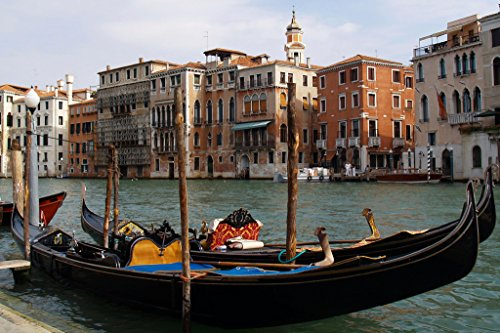 Gondola in Canals of Venice Italy Photo Art Print Poster 18x12