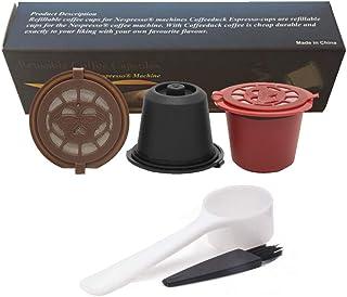 Rolin Roly 3 Pcs Filtros Cápsulas de Café Puede Rellenables Reutilizable para Cafetera Nespresso con 1 Cuchara y 1 Cepillo de Limpieza Coffee Capsules